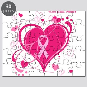 Run With Heart Pink hearts Puzzle