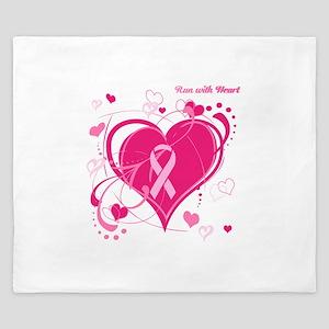 Run With Heart Pink hearts King Duvet