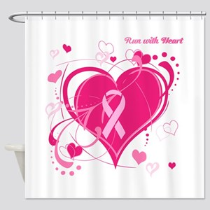 Run With Heart Pink hearts Shower Curtain