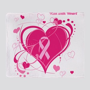 Run With Heart Pink hearts Throw Blanket