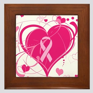 Run With Heart Pink hearts Framed Tile