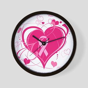 Run With Heart Pink hearts Wall Clock