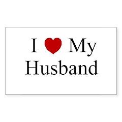 I (heart) My Husband Rectangle Decal