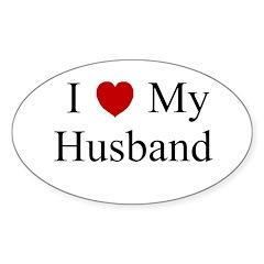 I (heart) My Husband Oval Decal
