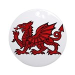 Red Welsh Dragon Ornament (Round)