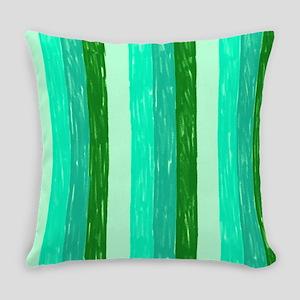 Green Crayon Stripes Everyday Pillow