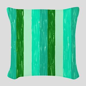 Green Crayon Stripes Woven Throw Pillow