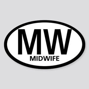 Midwife Black Oval Rectangle Sticker