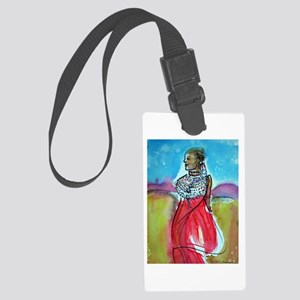 Africian tribal woman, art! Large Luggage Tag