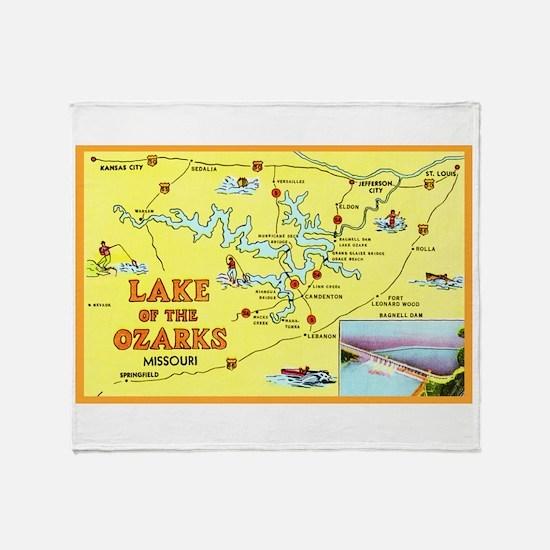 Lake of the Ozarks Map Throw Blanket