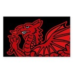 Red Welsh Dragon Sticker (Rectangle)