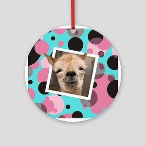 Animal Selfies/Funny Llama Selfie Photo Round Orna