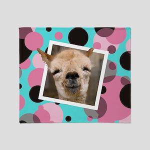 Animal Selfies/Funny Llama Selfie Photo Throw Blan