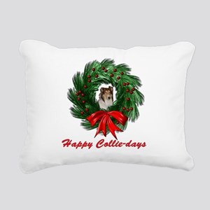 Happy Collie-days Wreath Rectangular Canvas Pillow
