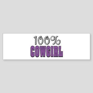 100% Cowgirl Bumper Sticker