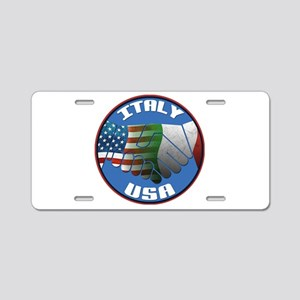 Italy USA Friendship Aluminum License Plate