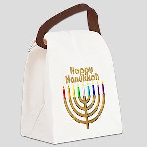 Happy Hanukkah Rainbow Menorah Canvas Lunch Bag
