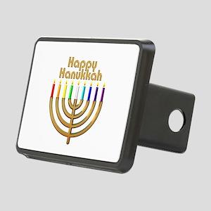 Happy Hanukkah Rainbow Menorah Rectangular Hitch C