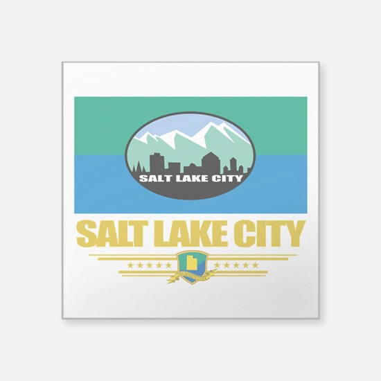 "Salt Lake City (Flag 10).png Square Sticker 3"" x 3"