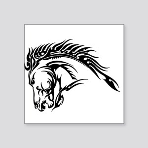 "Tribal Horse Head Square Sticker 3"" x 3"""