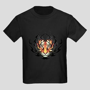 Tribal Flame Tiger Kids Dark T-Shirt
