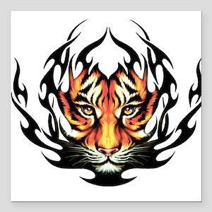"Tribal Flame Tiger Square Car Magnet 3"" x 3"""
