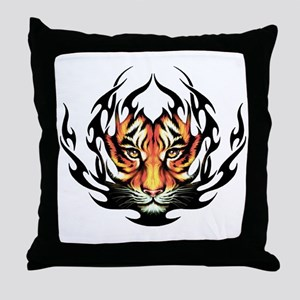 Tribal Flame Tiger Throw Pillow