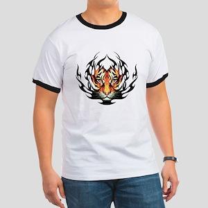 Tribal Flame Tiger Ringer T