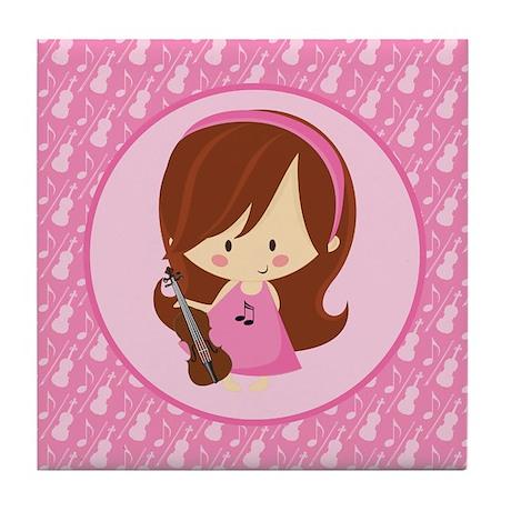 Violinist Girl Music Tile Coaster