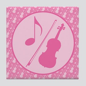 Cute Violin Gift Tile Coaster