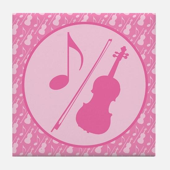 Cute Violin Gift Tile Coaster