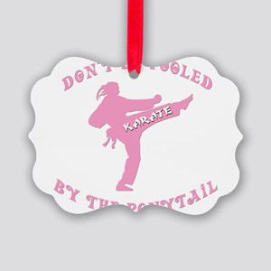 old tae kwon do(pink) Picture Ornament
