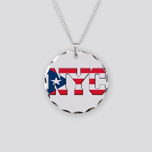 New York Puerto Rican Necklace Circle Charm