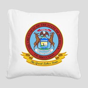 Michigan Seal Square Canvas Pillow
