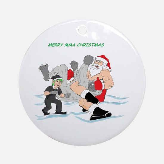 MMA Santa Vs Snowmonster Ornament (Round)