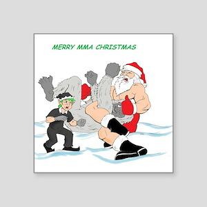 "MMA Santa Vs Snowmonster Square Sticker 3"" x 3"""