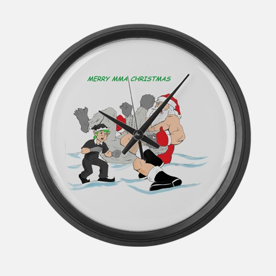 MMA Santa Vs Snowmonster Large Wall Clock