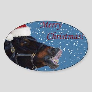 Fun Christmas Horse Sticker (Oval)