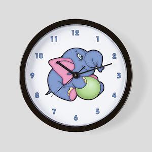 Cute Blue Elephant 2 Wall Clock
