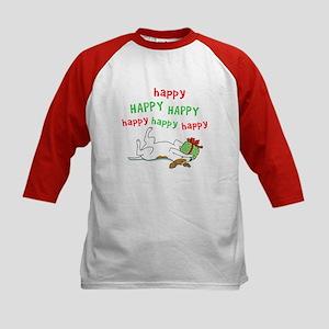 Happy Holiday Jack Russell Kids Baseball Jersey