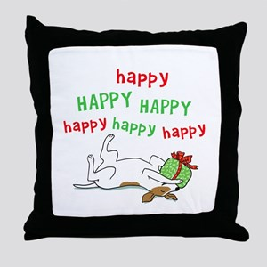 Happy Holiday Jack Russell Throw Pillow
