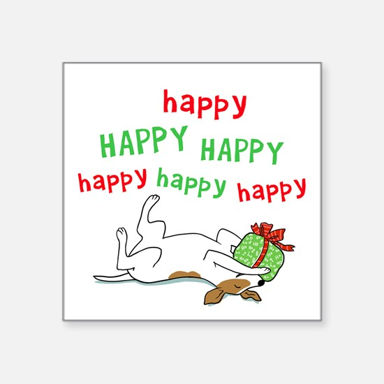 """Happy Holiday Jack Russell Square Sticker 3"""" x 3"""""""