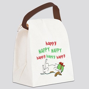 Happy Holiday Jack Russell Canvas Lunch Bag