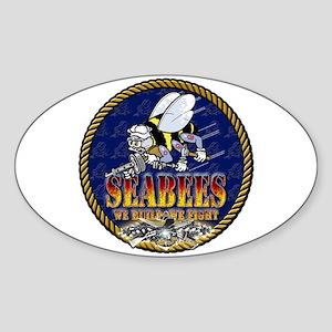 US Navy Seabees Lava Glow Sticker (Oval)