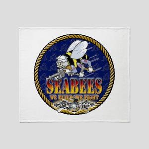 US Navy Seabees Lava Glow Throw Blanket