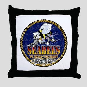 US Navy Seabees Lava Glow Throw Pillow