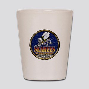 US Navy Seabees Lava Glow Shot Glass
