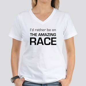 Id Rather be on The Amazing Race Women's V-Neck T-