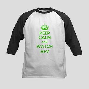 Keep Calm and Watch AFV Kids Baseball Jersey