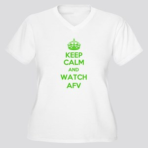 Keep Calm and Watch AFV Women's Plus Size V-Neck T